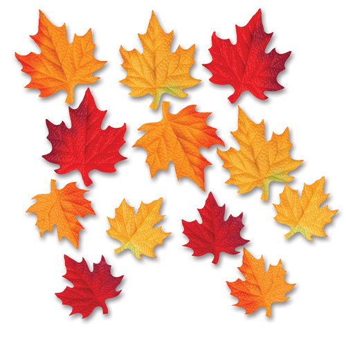 Club Pack of 288 Red and Yellow Fabric Autumn Leaf Silhouette Cutout Decoration - IMAGE 1