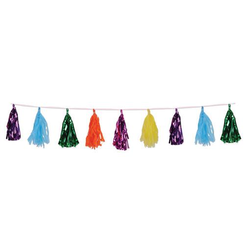 Club Pack of 12 Decorative Multi Colored Metallic and Tissue Tassel Garland 8' - IMAGE 1