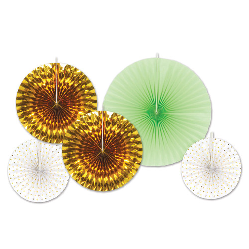 """Club Pack of 12 Gold and Green Paper Foil Fans Hanging Decors 16"""" - IMAGE 1"""