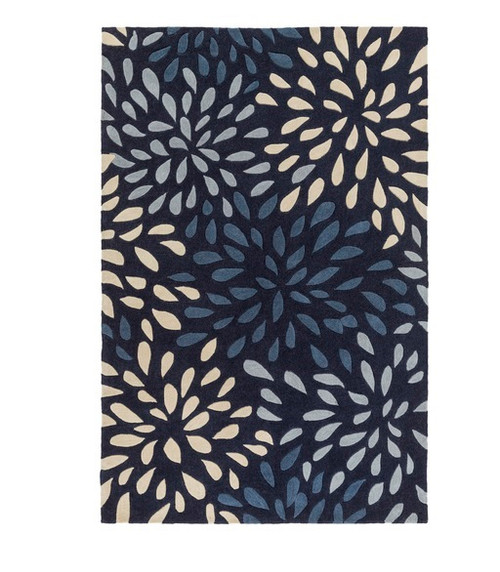 2' x 3' Contemporary Blue and Gray Hand Tufted Area Throw Rug - IMAGE 1