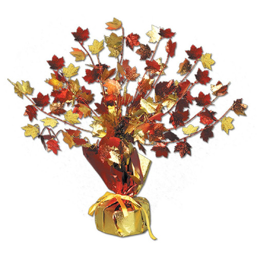 """Club Pack of 12 Decorative Gleam 'n Burst Fall Leaves Centerpiece Decoration 15"""" - IMAGE 1"""