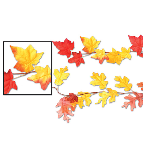 Club Pack of 12 Bright Red and Sunny Yellow Artificial Autumn Leaf Garland 6' - IMAGE 1