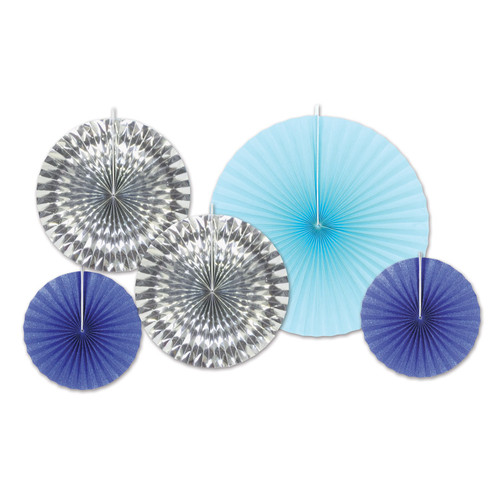"""Club Pack of 12 Silver and Blue Paper Foil Fans Hanging Decors 16"""" - IMAGE 1"""