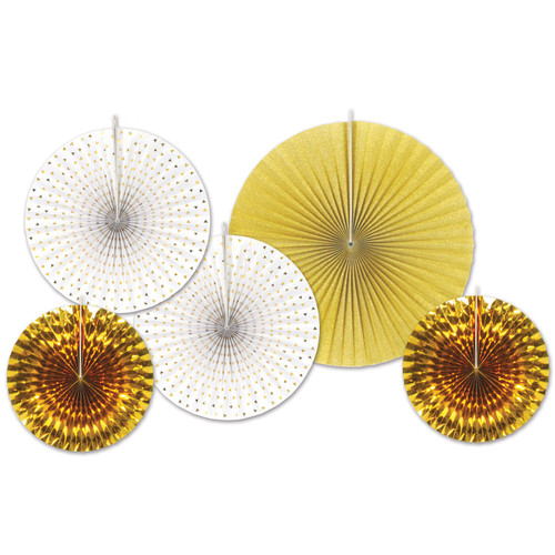 """Club Pack of 12 Gold and White Paper Foil Fans Hanging Decors 16"""" - IMAGE 1"""