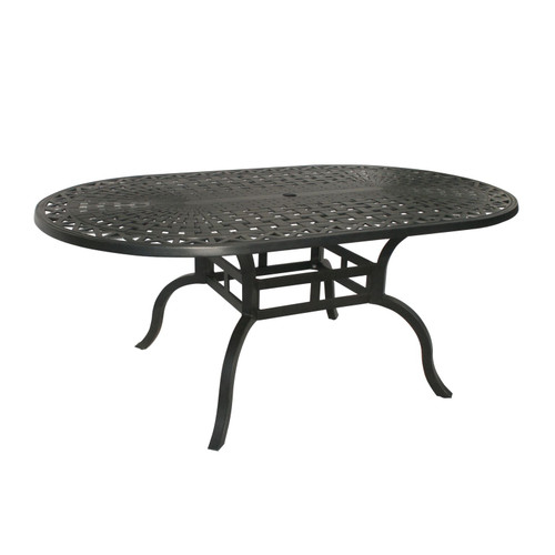 "72"" Jet Black Motif Oval Outdoor Patio Dining Table - IMAGE 1"