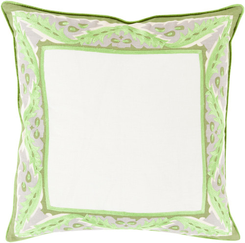 "22"" Green and White Floral Frame Square Throw Pillow - Down Filler - IMAGE 1"