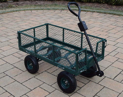"""45"""" Sturdy Forest Green Metal Garden Utility Cart with Adapter Handle - IMAGE 1"""