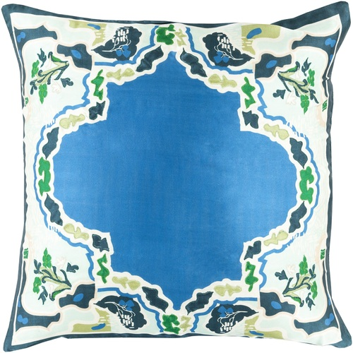 """20"""" Blue and Green Floral Square Throw Pillow - Down Filler - IMAGE 1"""