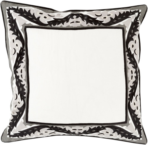 "20"" Black and White Floral Frame Square Throw Pillow - Down Filler - IMAGE 1"