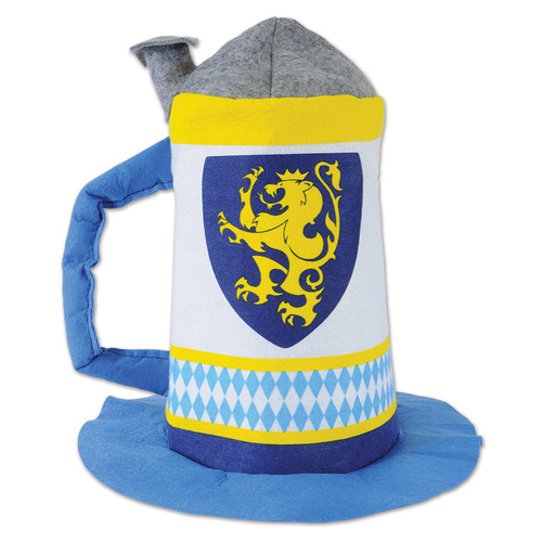 """Pack of 6 Blue and Yellow Felt Oktoberfest Lion Rampant Beer Stein Hat 17"""" - IMAGE 1"""