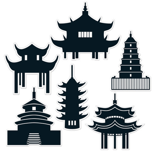 """Club Pack of 12 Black Traditional Asian Pagoda Silhouette Wall Cutouts Decors 14.5"""" - IMAGE 1"""