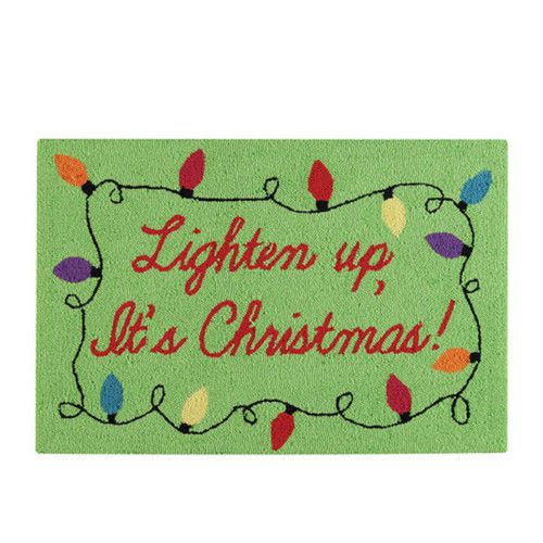 """1.8' x 2.8' Green and Red """"Lighten Up, It's Christmas"""" Hooked Rectangular Area Throw Rug - IMAGE 1"""