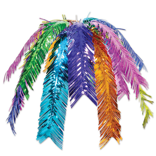 "Club Pack of 12 Blue and Green Metallic Outdoor Hanging Palm Leaf Cascade Decors 24"" - IMAGE 1"