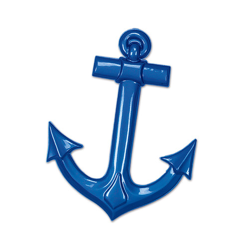 """Club Pack of 24 Decorative Nautical Plastic Blue Ship's Anchors 25"""" - IMAGE 1"""