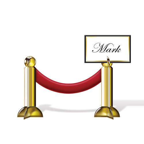 """Club Pack of 12 Fancy Gold and Red Award Night Stanchion Place Card Decors 7.5"""" - IMAGE 1"""