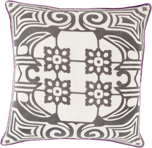 """22"""" Black and White Floral Patterned Decorative Square Throw Pillow - Down Filler - IMAGE 1"""