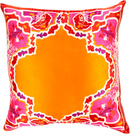 "22"" Bright Orange and Red Floral Woven Square Throw Pillow - Down Filler - IMAGE 1"