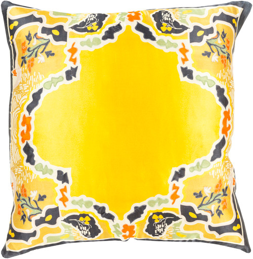 """18"""" Yellow and Gray Floral Woven Square Throw Pillow - Down Filler - IMAGE 1"""