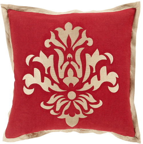 """22"""" Metallic Red and Gold Floral Square Throw Pillow - Down Filler - IMAGE 1"""