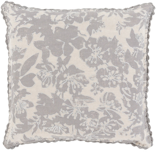"""22"""" Gray and Ivory Floral Square Throw Pillow - Down Filler - IMAGE 1"""