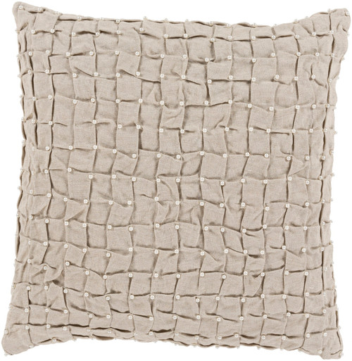 """20"""" Gray and White Tufted with Faux Pearls Square Throw Pillow - IMAGE 1"""