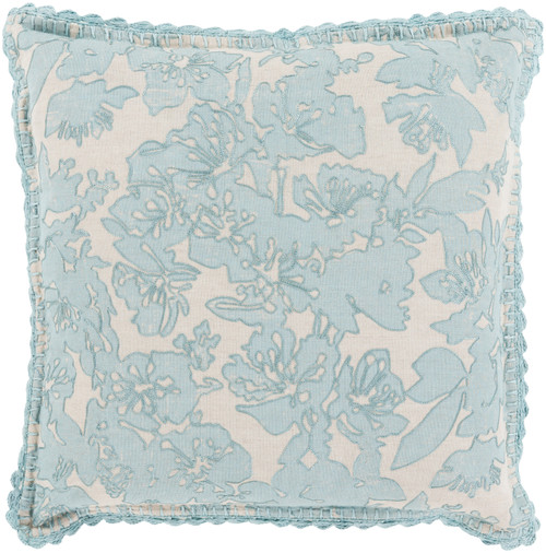 """22"""" Gray and Ivory Floral Contemporary Square Throw Pillow - Down Filler - IMAGE 1"""