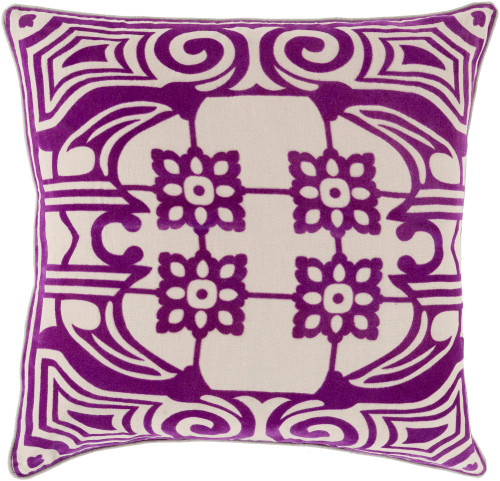 """22"""" Purple and Beige Floral Patterned Square Throw Pillow - IMAGE 1"""