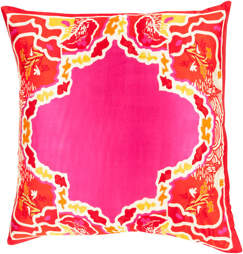 "20"" Pink and Red Floral Woven Square Throw Pillow - Down Filler - IMAGE 1"