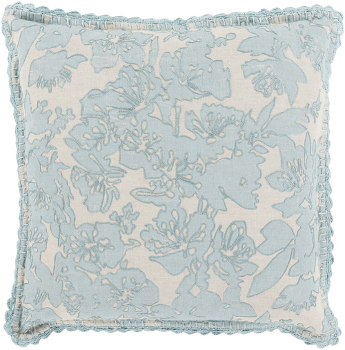 """18"""" Gray and Ivory Floral Square Throw Pillow - Down Filler - IMAGE 1"""