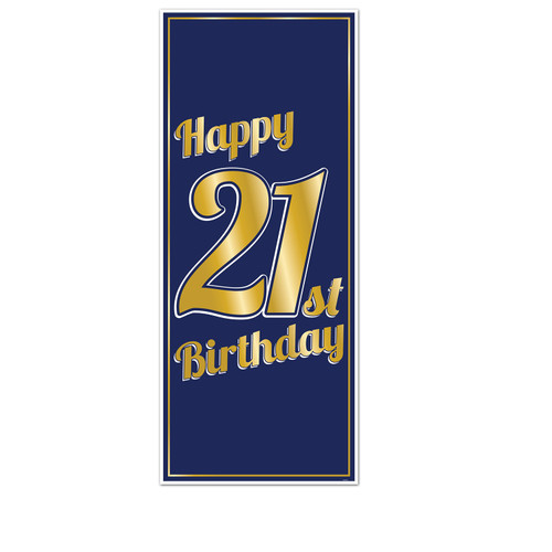 """Club Pack of 12 Navy Blue and Gold """"Happy 21st Birthday"""" Rectangular Party Door Covers 6' - IMAGE 1"""
