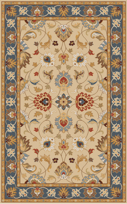 5' x 8' Floral Slate Blue and Ivory Hand Tufted Wool Area Throw Rug - IMAGE 1