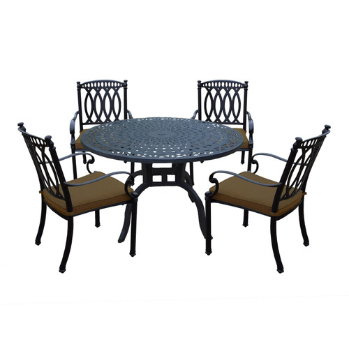 5-Piece Black Contemporary Outdoor Patio Dining Set - Tan Brown Cushions - IMAGE 1