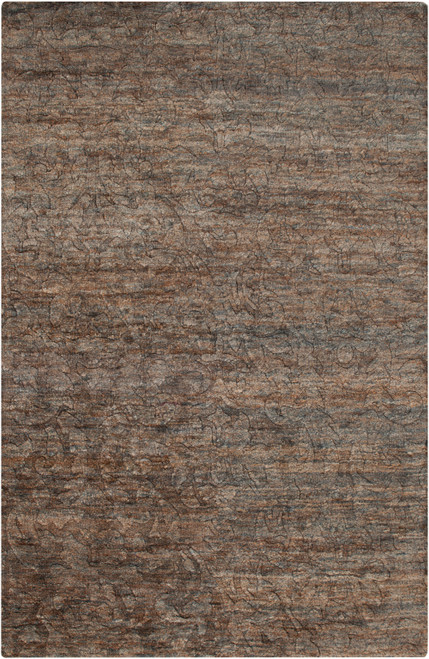 8' x 11' Chocolate Brown and Charcoal Gray Hand Knotted Rectangular Area Throw Rug - IMAGE 1