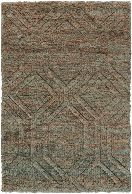 8' x 11' Slate Gray Hand Knotted Rectangular Area Throw Rug - IMAGE 1