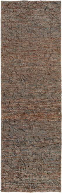 2.5' x 8' Chocolate Brown and Charcoal Gray Hand Knotted Rectangular Area Throw Rug Runner - IMAGE 1