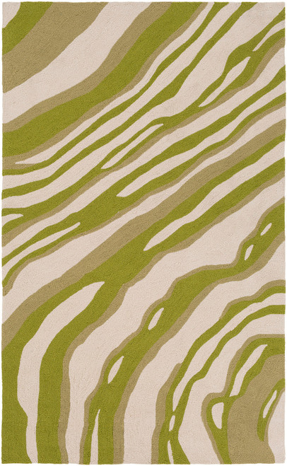 5' x 7.5' Stripes Brown and Green Hand Hooked Area Throw Rug - IMAGE 1