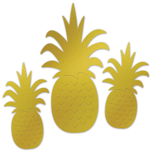 """Club Pack of 12 Gold Summertime Assorted Pineapple Fruit Display Cutouts Decors 18"""" - IMAGE 1"""
