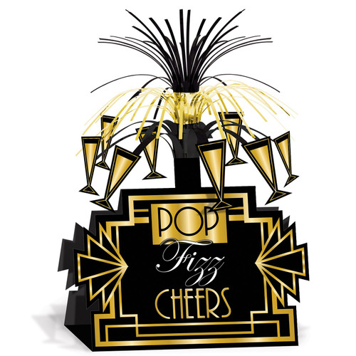 """Club Pack of 12 Black and Gold Great 20's Hollywood Tabletop Centerpieces Party Decors 13"""" - IMAGE 1"""