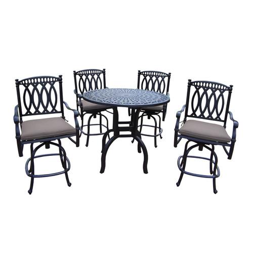 5-Piece Black Round Outdoor Patio Bar Set - Gray Cushions - IMAGE 1