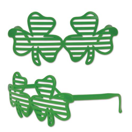 Pack of 12 Green Shamrock Shutter Glasses St. Patrick's Day Party Favors - IMAGE 1