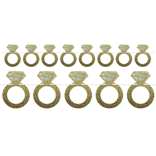 """Club pack of 12 Gold Bachelorette Party Diamond Wedding Ring Streamers Decors 72"""" - IMAGE 1"""