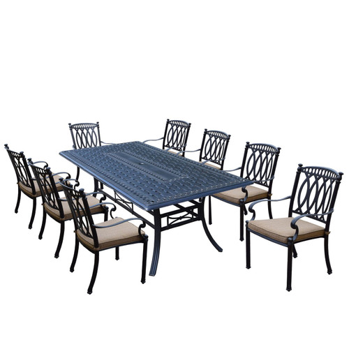 9-Piece Black Morocco Aluminum Stackable Chair Patio Dining Set w/ Cream Cushions - IMAGE 1