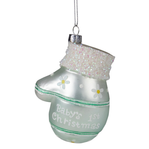 "4"" Mint Green Baby's 1st Christmas Mitten Holiday Ornament - IMAGE 1"