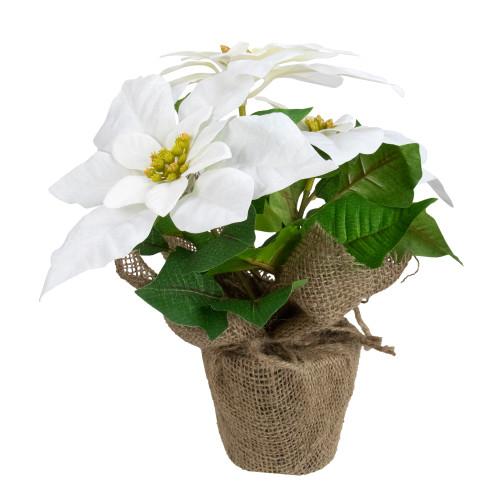 """10"""" White Poinsettia Flower Artificial Christmas Floral Arrangement - IMAGE 1"""