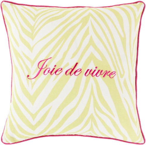 "20"" Bright Pink and Lime Yellow ""Joie de vivre"" Embroidered Square Throw Pillow - IMAGE 1"