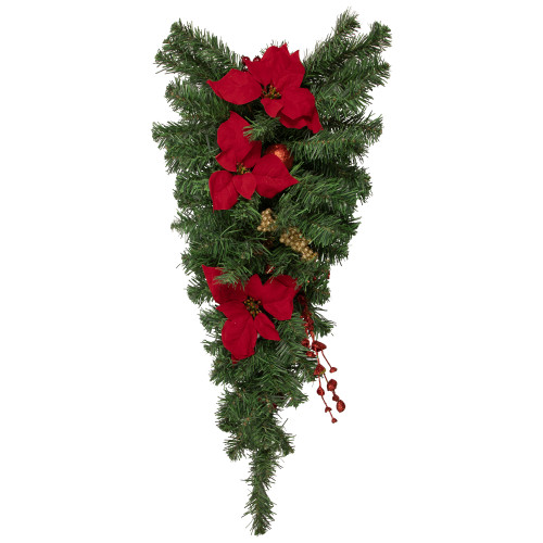 30'' Red and Green Poinsettia Artificial Christmas Teardrop Swag - Unlit - IMAGE 1