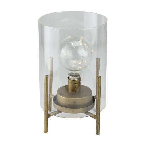 """10"""" Glass Hurricane Cylinder Lantern with LED Fairy Light Bulb - IMAGE 1"""