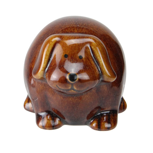 "3.5"" Pudgy Pals Floppy Eared Dark Brown Porcelain Doggy Table Top and Garden Figure - IMAGE 1"