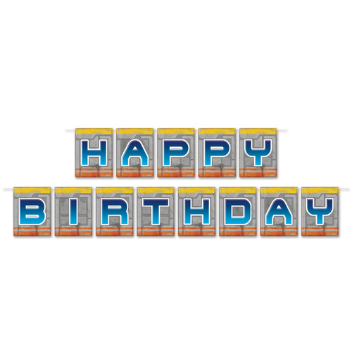 Club Pack of 12 Blue 'Happy Birthday' Space Pennant Banners 12' - IMAGE 1