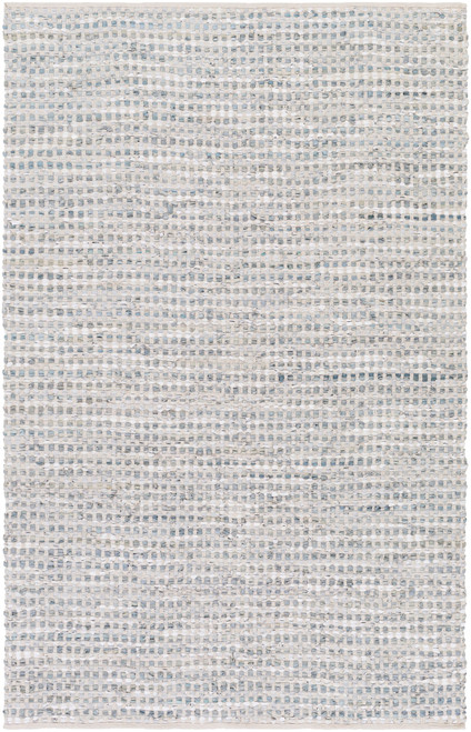 9' x 13' Teal and Ice Blue Checked Pattern Rectangular Area Throw Rug - IMAGE 1